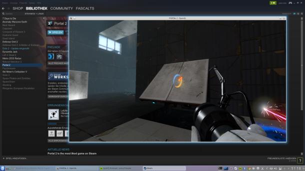 Screenshot Steam und Portal2 unter Linux