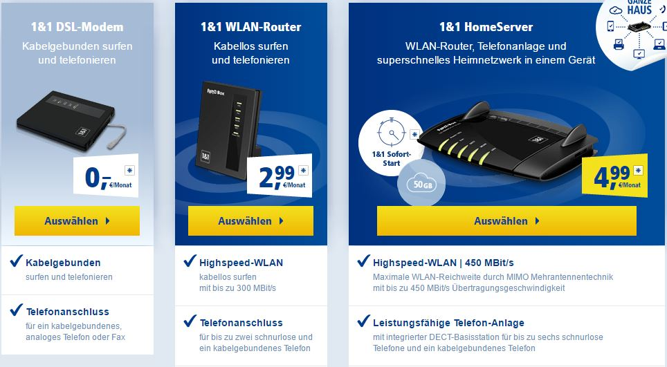 1und1 Router Auswahl Quelle: https://dsl.1und1.de/wlan-hardware